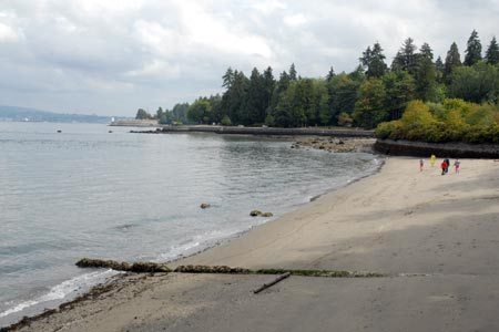 Sandy beach on Burrard Inlet side of Stanley Park